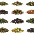 Set of black and green tea with additives...