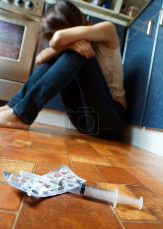 The conceptual image on the subject of drug addiction