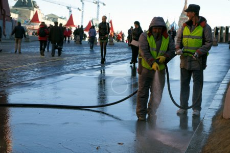 Workers cleaning the streets