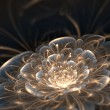 Dark blue fractal flower with golden rays, illustr...
