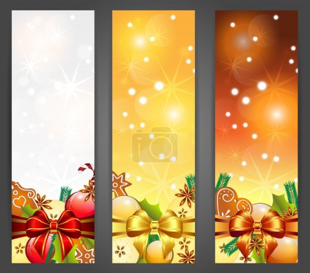 Christmas banners with apples, decorations, ribbons and gingerbr