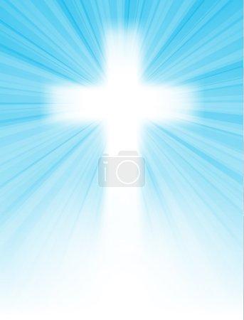 Illustration pour Croix sur ciel bleu, avec rayons du soleil et ciel bleu, avec texte, carte de vœux de Pâques, illustration vectorielle, avec transparence et gradient, eps 10 - image libre de droit