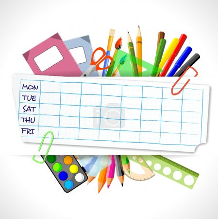 school timetable with stationery