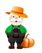 Cartoon gardener with big pumpkin - illustration