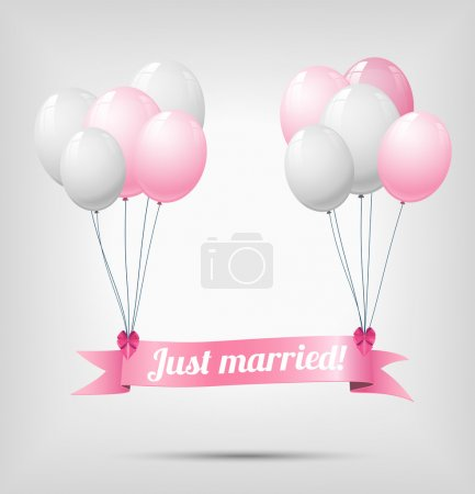 Illustration for Ribbon with text just married, hanging on white a nd pink balloons, vector illustration, eps 10, with transparency and gradient mesh - Royalty Free Image
