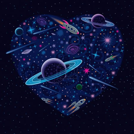 Illustration for Vector illustration with various cosmic elements inside heart shape. - Royalty Free Image