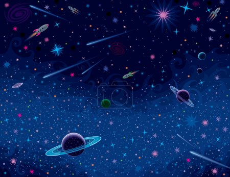 Illustration for Vector background with various cosmic elements. - Royalty Free Image