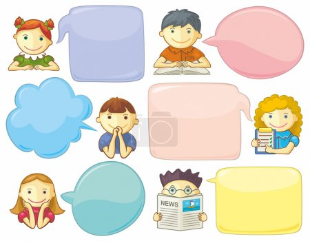 Cute Personages With Speech Bubbles