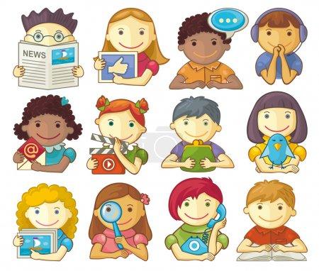 Illustration pour Ensemble vectoriel de caractères souriants pour les catégories dans les présentations, le menu Web, le design, etc. . - image libre de droit