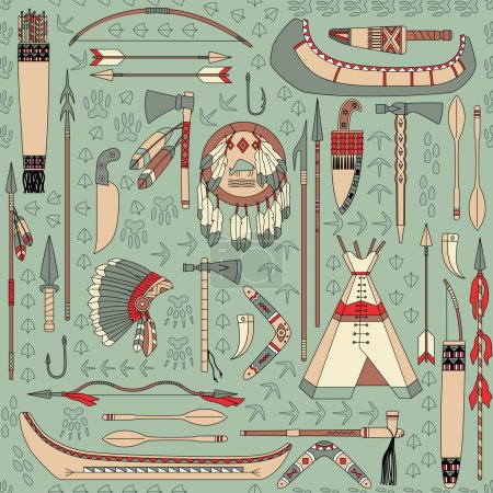 Illustration for Seamless vector pattern with Native American attributes can be used for graphic design, textile design or web design. - Royalty Free Image