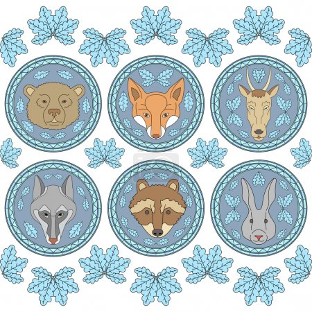 Set of six labels with muzzles of animals