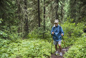 Senior active man hiking