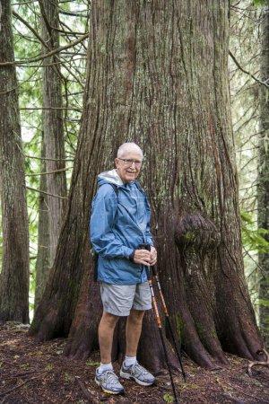 Senior active man hiking