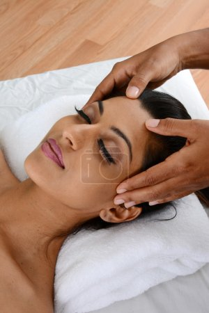 Photo for Woman getting a getting relaxing massage in salon - Royalty Free Image