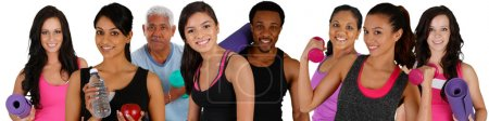Photo for Group of people doing a workout while at the gym - Royalty Free Image