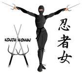 Ninja žena ozbrojená