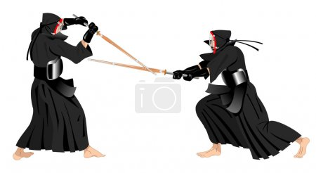 Two kendo warriors fighting with traditional unifo...