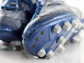 Glänzend blau Fußball Stiefel, Schuhe
