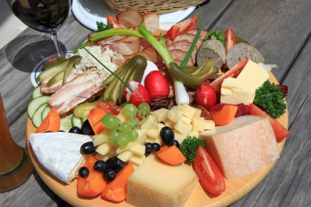 Photo for Austrian Cold cuts and cheese platter (Jausen Platte, Brotzeit Platte) - Royalty Free Image