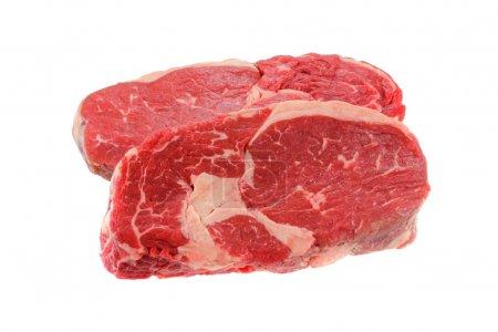 Fresh Sirloin steak, isolated on a white