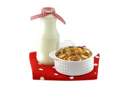 A bowl of breakfast cereals with milk