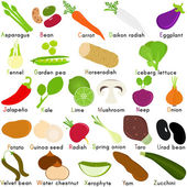 Icons of Vegetable Representing Alphabet A to Z