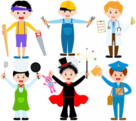 Photo for A set of cartoon male kids, young boys in cute costumes - Royalty Free Image