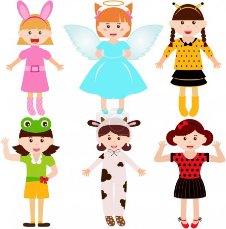 Female kids, young girls in cute costumes