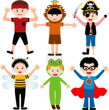 Illustration for A set of cartoon male kids, young boys in cute costumes - Royalty Free Image