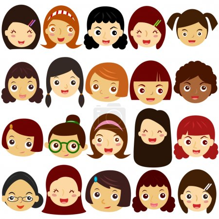 A Theme of cute vector Icons : Girls, Woman, Kids (Female Set)
