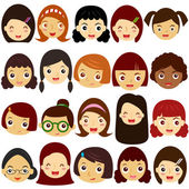A Theme of cute vector Icons : Girls Woman Kids (Female Set)