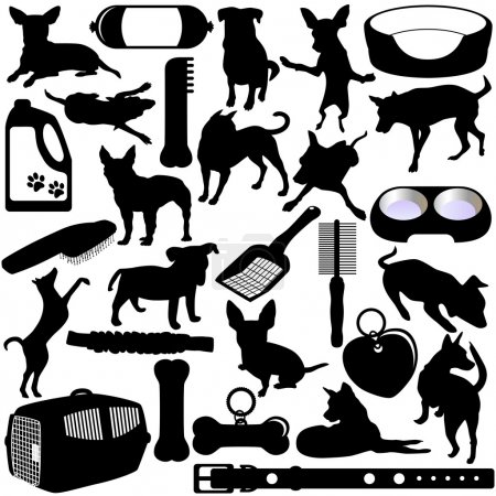 Vector Silhouettes of Dogs, Puppies and Accessories