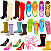 A set of Vector Icons: shoes (boots high heels sneakers)