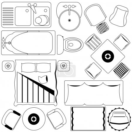 Vector Icons : Simple Furniture , Floor Plan (Outline)