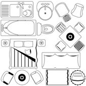 Vector Icons : Simple Furniture  Floor Plan (Outline)