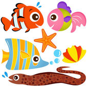 A colorful set of cute Animal Vector Icons: Fish Sea life
