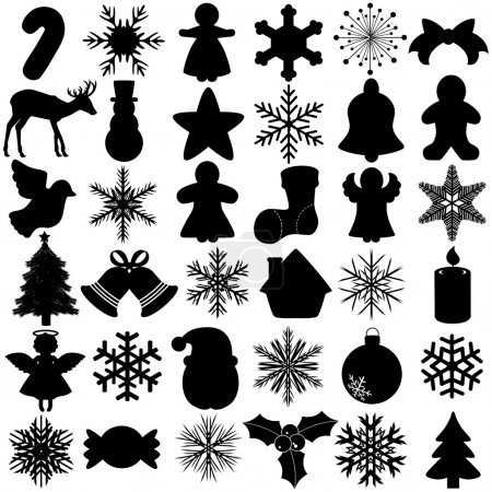 Illustration for A Vector Silhouette of Seamless Snowflake Christmas Festival symbol : isolated on white - Royalty Free Image