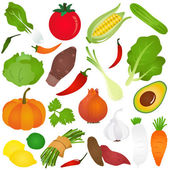 Colorful Cute vector Icons : Fruits vegetable food