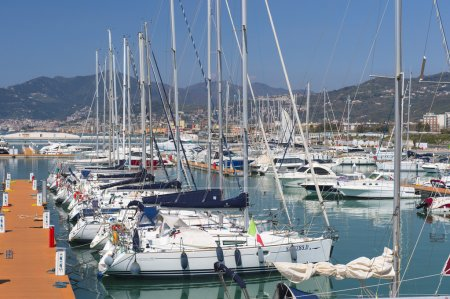 Yachts and motor boats in the harbor