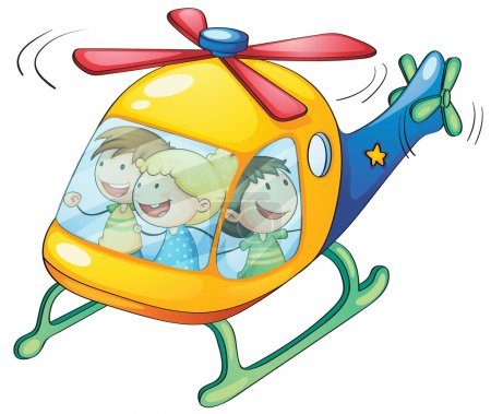 Illustration for Illustration of a kids in a helicopter - Royalty Free Image