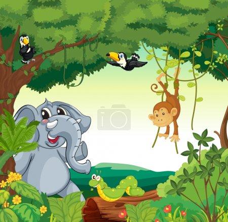 Illustration pour Illustration d'une scène forestière avec différents animaux - image libre de droit