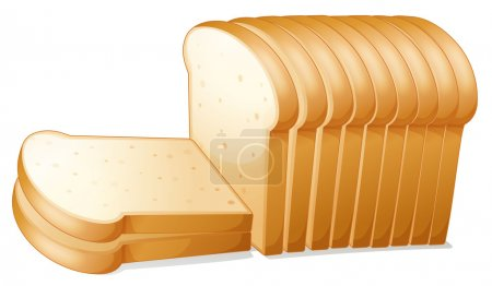 Illustration pour Illustration d'une tranche de pain sur fond blanc - image libre de droit