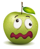 Illustration of a dull apple smiley on a white