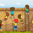 Illustration of kids climbing on a brick wall...