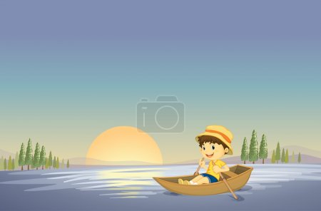 Illustration for Illustration of a boy and boat in a beautiful nature - Royalty Free Image
