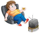 man and television