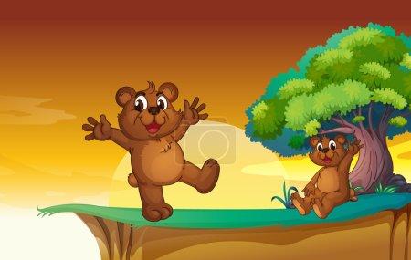 Illustration pour Illustration des oursons dans une belle nature - image libre de droit