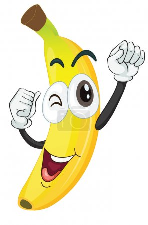 Illustration for Illustration of a banana on a white background - Royalty Free Image
