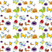 Illustration of various insects on a white background