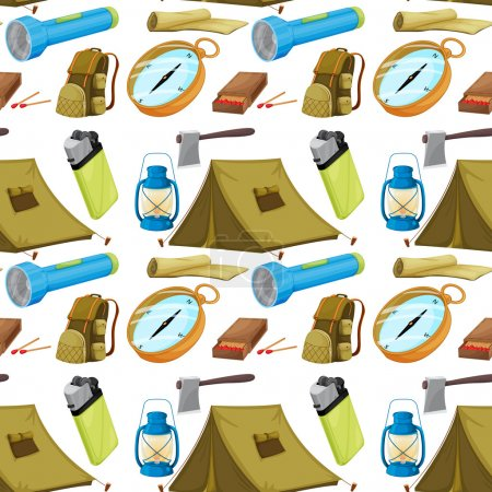 Illustration for Illustration of various camping objects on a white background - Royalty Free Image